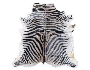 7 x 7 Zebra Stenciled Hide Rug