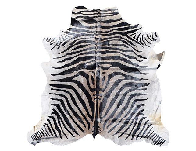 7 X Zebra Stenciled Hide Rug The