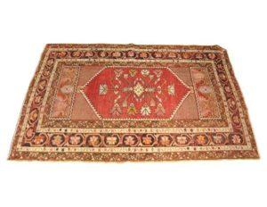 4 x 4 Wool Kilim Rug in Red Hues
