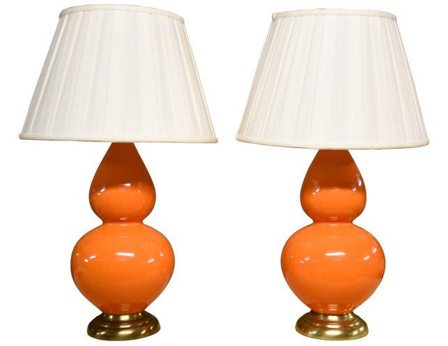 sc 1 st  The Local Vault & Robert Allen Pair of Orange Double Gourd Lamps | The Local Vault