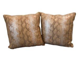 Metallic Snakeskin Pillows from Dovecote, Pair