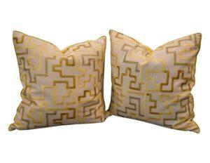 Dransfield & Ross Citron Maze Pillows, Pair