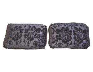 Purple Velvet Cut Pillows with Cording, Pair