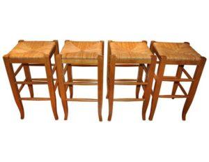 Wood and Rush Bar Stools, Set of 4