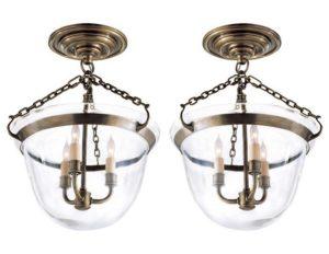 Pair of Visual Comfort Semi Flush Bell Jar Lanterns