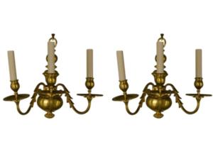 Delisle Paris Gold Plated French 3 Light Sconces, Pair