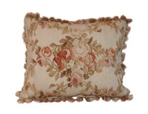 Kentshire Rose Vine Tapestry with Fringe Border Pillow