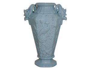 Antique Japanese Celadon Vase with Raised Peacock Motif