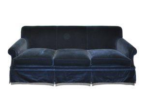 Edward Ferrell + Lewis Mittman Navy Blue Velvet Sofa