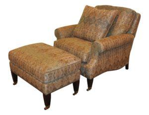 Edward Ferrell + Lewis Mittman Reclining Club Chair and Ottoman
