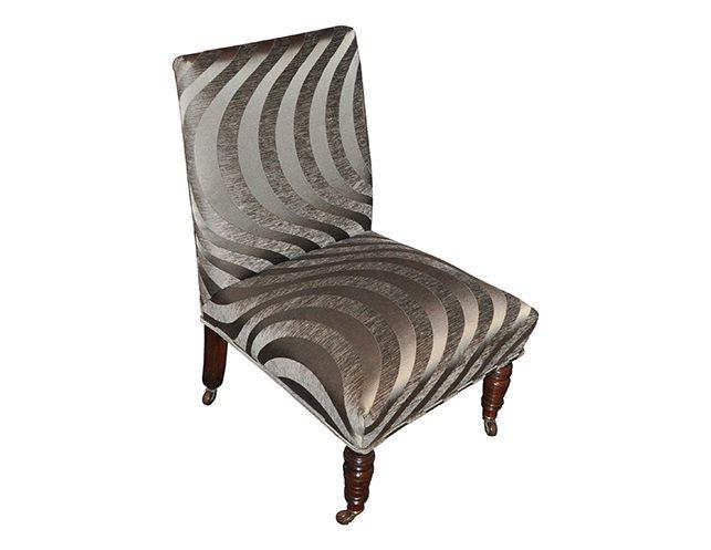 Antique Slipper Chair in Grey Silk Cut Velvet on Casters | The Local Vault - Antique Slipper Chair In Grey Silk Cut Velvet On Casters The Local
