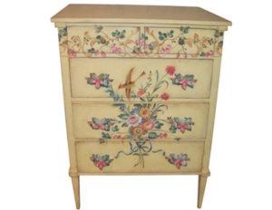5-Drawer Yellow Hand-Painted Dresser