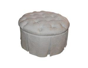 Round Tufted Ottoman in Beige Linen