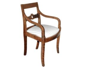 Antique Biedermeier Tiger Maple Armchair