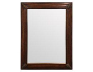 Wood Framed Mirror with Brass Leaf Detail
