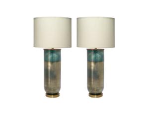 Jamie Young Vapor Aqua Ombre Large Table Lamps, Pair