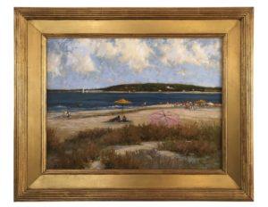 "Deborah Cotrone ""Beach Scene with Yellow & Pink Umbrellas"""