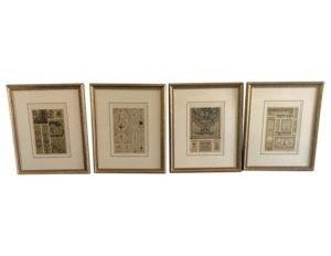 Set of Antique Gold Tone Panel Framed Prints