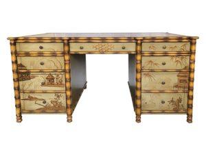 Regency Faux Bamboo Chinoiserie Partner's Desk