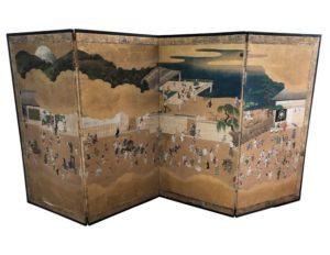Antique Four-Panel Japanese Screen, c.17th century