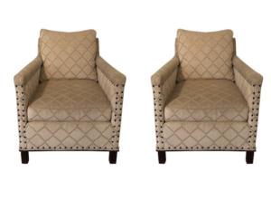 CR Laine Gotham Armchairs in Cut Velvet, Pair