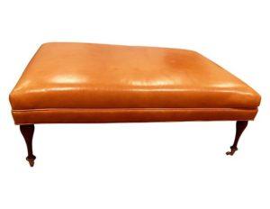 Charles Stewart Orange Leather Ottoman in Edelman Leather