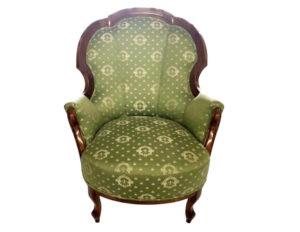 Ladies Victorian Armchair in Green Silk