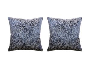 Ryan Studio Madeleine Blue Leopard Pillows, Pair