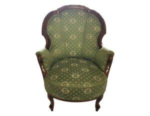 Antique Chair in Green Silk Fabric