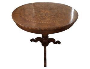 Antique Italian Parquet Single Pedestal Table