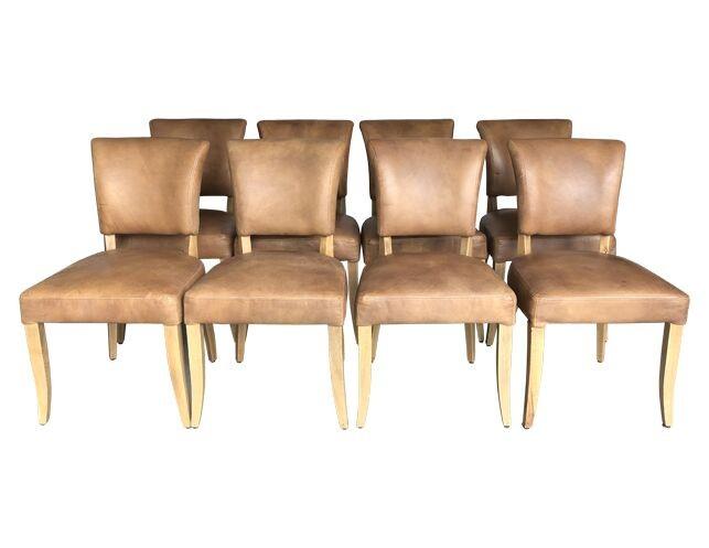 Fantastic Restoration Hardware Adele Leather Side Chairs Set Of 8 Machost Co Dining Chair Design Ideas Machostcouk