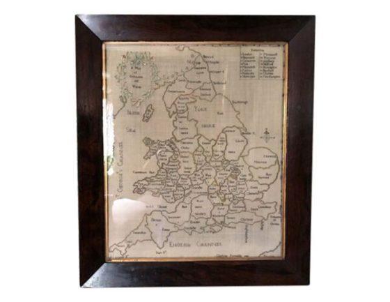 Antique Silk Embroidered Map Sampler