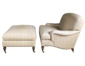 Brunschwig & Fils Beige Plaid Chair and Ottoman