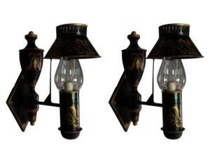 Antique Black & Gold Tole Gaslight Sconces