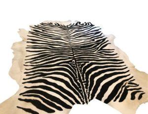 Zebra Stenciled Hide Rug