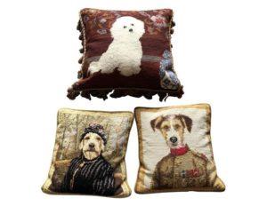 Needlepoint Dog Pillows, Set of 3