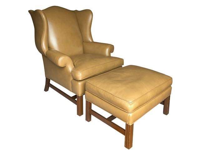 Marvelous Brunschwig Fils Wellington Wing Chair Ottoman In Edelman Leather Uwap Interior Chair Design Uwaporg