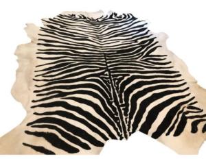 8 x 9 Zebra Stenciled Hide Rug