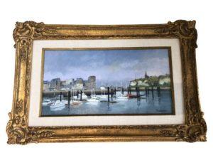 """Annie Puybareau Signed Original Painting """"Le Port de Dieppe"""""""