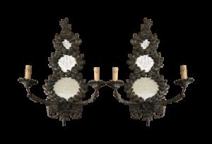 Antique Cast Bronze & Mirror Candle Sconces