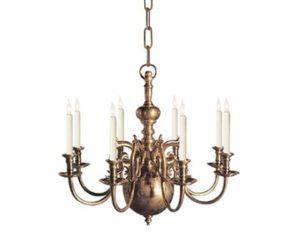 Visual Comfort 18th Century Style 8-Light Brass Chandelier