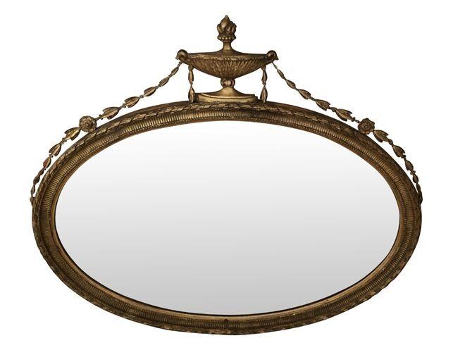 Adam Style Gilt Oval Wall Mirror
