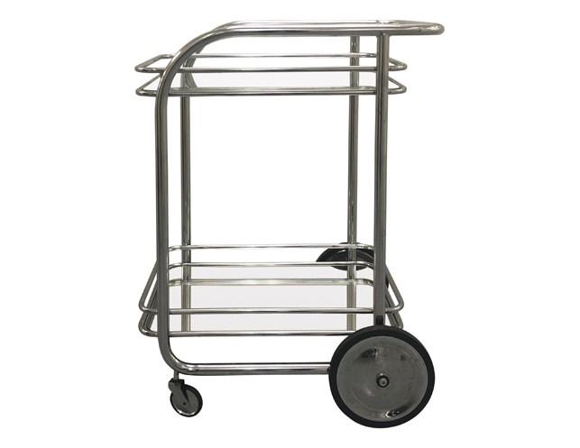 Vintage Italian Tubular Chrome Bar Cart with Mirrored Bottom Shelf