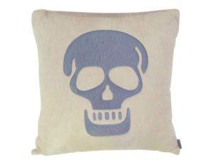 Large Cream Pony Hair Skull Pillow