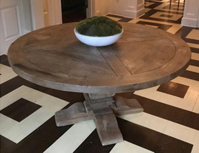 Restoration Hardware Salvaged Wood Trestle Round Dining Table