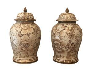 White And Brown Floral Motif Ginger Jars, Pair