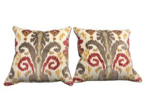 Custom Lee Jofa Ikat Throw Pillows, Pair