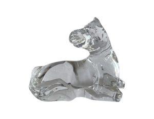 Vintage Baccarat Crystal Lying Down Foal Horse
