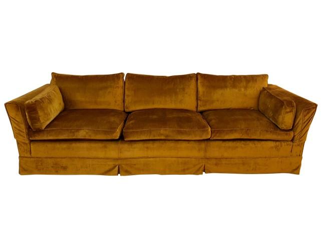 Mid-Century Modern Low Profile Down Filled Velvet Sofa | The Local Vault
