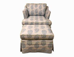 Custom Chair and Ottoman in Peter Dunham Kashmir Paisley